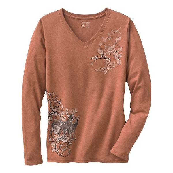 Legendary Whitetails Ladies Mystic Legends Long Sleeve V-Neck Shirt - canyon heather