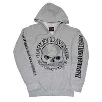 Harley-Davidson Men's Zippered Sweatshirt Jacket H-D Skull Hoodie Gray 30296653