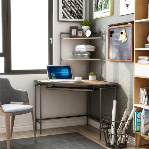 Furniture of America Ajax Industrial Corner Desk with USB Port