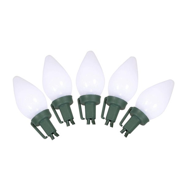 Set of 25 Opaque White C9 LED Christmas Lights - Green Wire