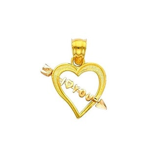 Jewelry 14k Two-Tone Gold Open Heart with I Love You