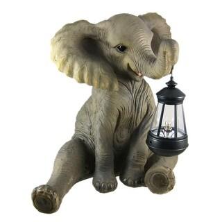 Cute African Elephant Porch / Garden Statue W/ Lantern - gray