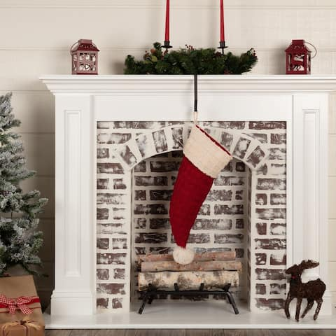 Chenille Christmas Santa Hat Stocking 9.5x20 - Stocking 20x9.5