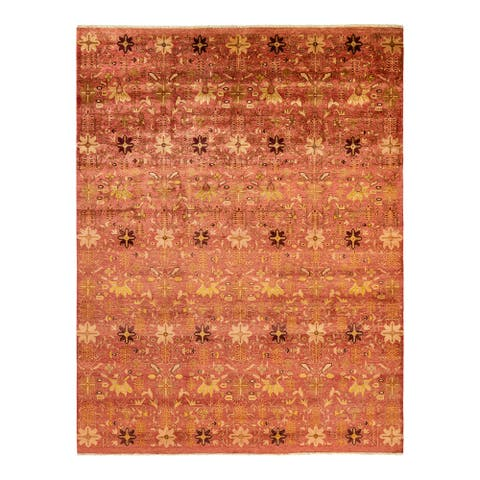 """Eclectic, One-of-a-Kind Hand-Knotted Area Rug - Orange, 7' 10"""" x 10' 4"""" - 7' 10"""" x 10' 4"""""""