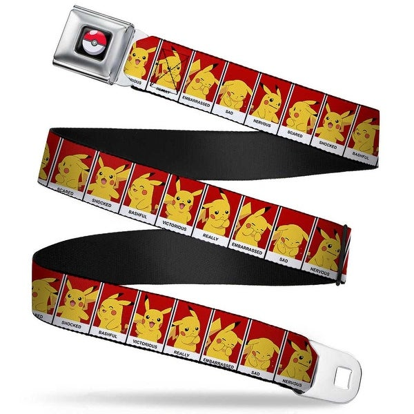 Pok Ball Full Color Black Pikachu 8 Mood Blocks Red Black White Webbing Seatbelt Belt