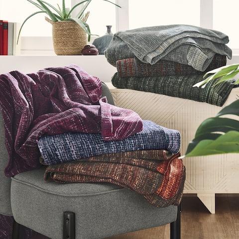 Reversible Rag Rug Style Cotton Blend Velour Throw Blanket by IBENA