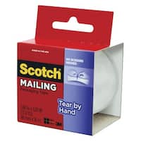 Scotch Tear-By-Hand Packaging Tape, 1.88 Inch x 17.40 Yards, Clear