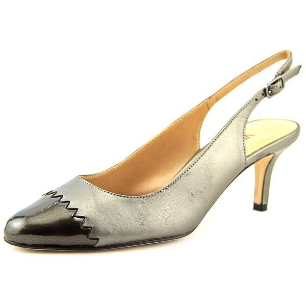 Vaneli Liddy Women N/S Pointed Toe Leather Silver Slingback Heel