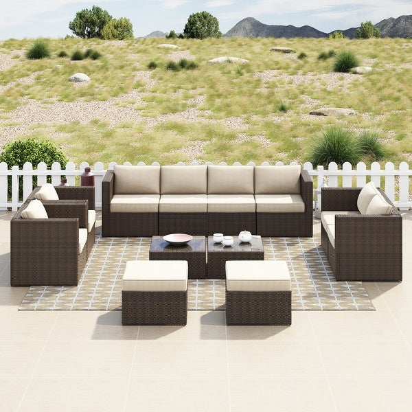 Corvus Trey 12-piece Brown Wicker Patio Glass Top Conversation Set. Opens flyout.