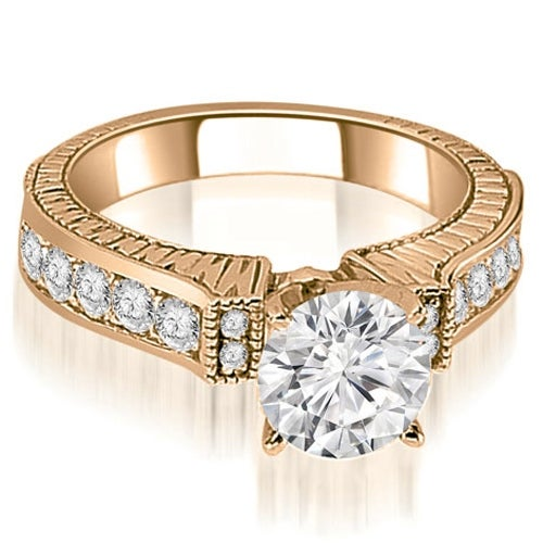 1.05 cttw. 14K Rose Gold Antique Round Cut Diamond Engagement Ring