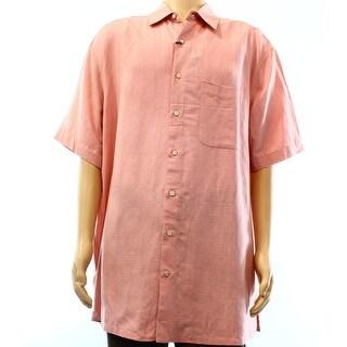 Tasso Elba NEW Pink Mens Size XLT Textured Button Down Silk Linen Shirt