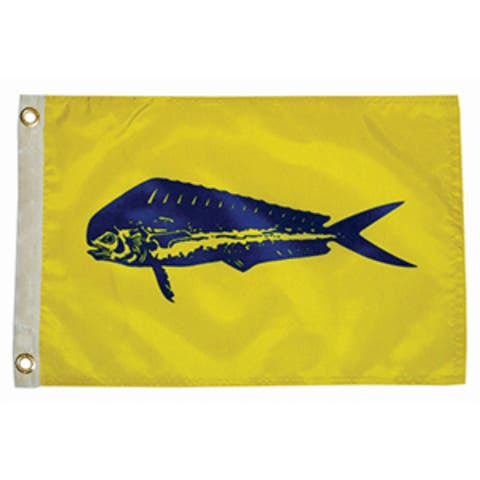 """7"""" Yellow and Blue Unique Taylor Made 12x18 Dolphin Boat Flag"""