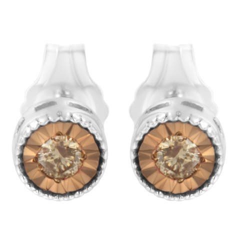 Sterling Silver 1/10ct TDW Champagne Diamond Stud Earrings (Champagne, I1-I2)