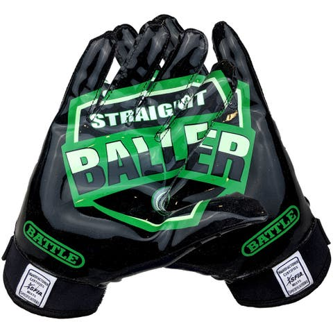 Battle Sports Science UTR Straight Baller Adult Receiver Gloves - Black/Green