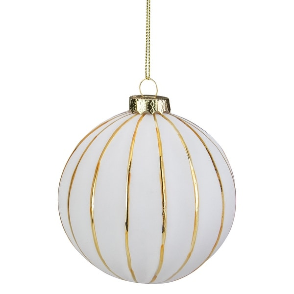"4"" White and Gold Striped Glass Christmas Ball Ornament. Opens flyout."