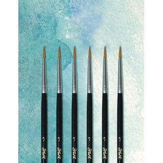 Sax Royale Synthetic and Goat Hair Short Handle Paint Brushes, Size 1, Pack of 6