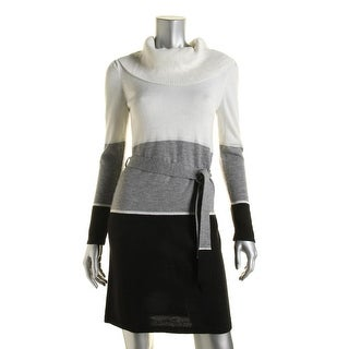 NY Collection Womens Petites Colorblock Metallic Sweaterdress - pxs