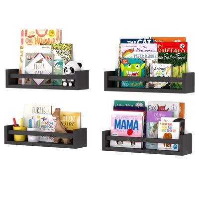 Wallniture Utah Wood Wall Shelves for Book and Toy Storage (Set of 4)