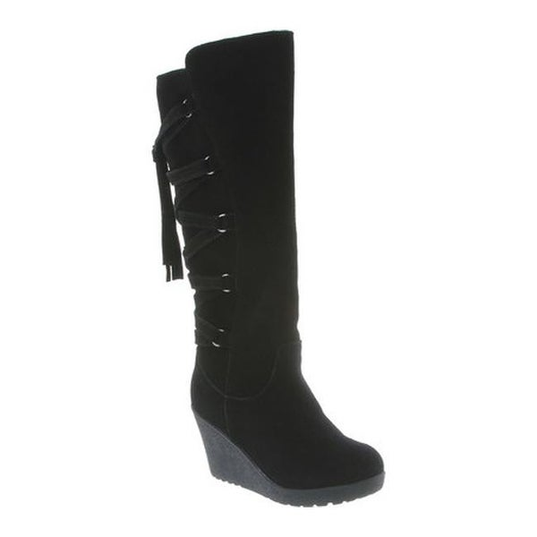 525ddfbe873 Shop Bearpaw Women s Britney Knee-High Wedge Boot Black II Suede ...