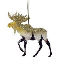 "4.5"" Glittered Woodland Moose Silhouette Christmas Ornament - Purple"