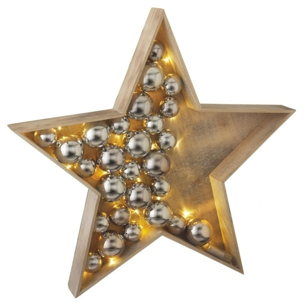 """30.5"""" Battery Operated LED Lighted Large Country Rustic Wooden Star Christmas Decoration - brown"""