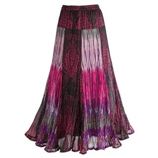 "Women's Exotic Purple Patchwork Maxi Skirt - Crinkle Fabric - 35"" L"