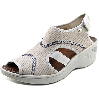 BZees Dream Women  Open Toe Canvas Gray Wedge Sandal
