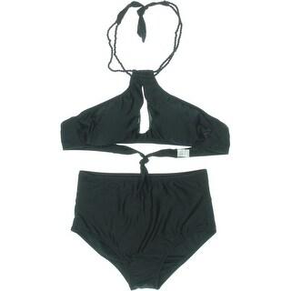Zeraca Womens Cut-Out Halter Bikini Swimsuit - L