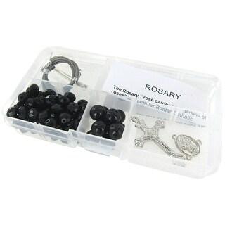 Crystal & Pearl Rosary Bead Kit-Black Crystal Beads & Black Pearls