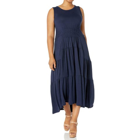 Lucky Brand Womens Maxi Dress Navy Blue Size 3X Plus Scoop-Neck Ruched