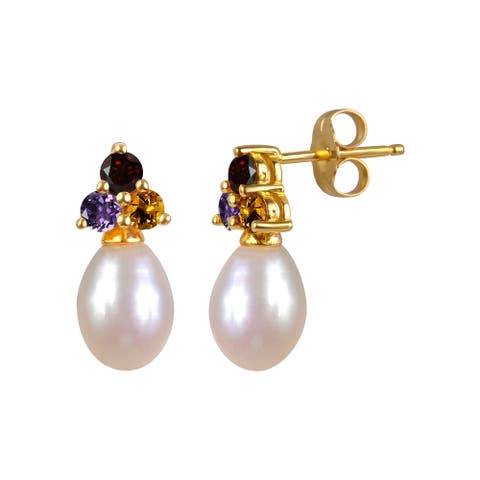 Sterling Silver Yellow Gold Plated Gemstone and Pearl Teardrop Earrings