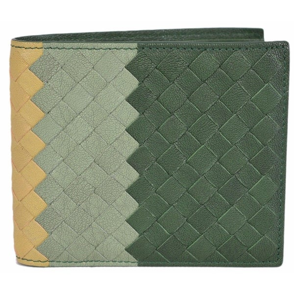 super popular 2f2ea d7ce5 Bottega Veneta 113993 Intrecciato Colorblock Woven Leather Bifold Wallet