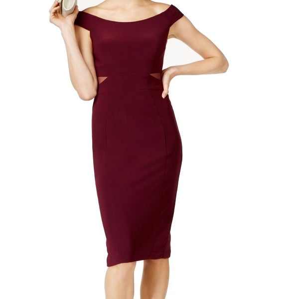58e86a8f Shop Xscape Wine Purple Women's 14 Off Shoulder Mesh Sheath Dress ...
