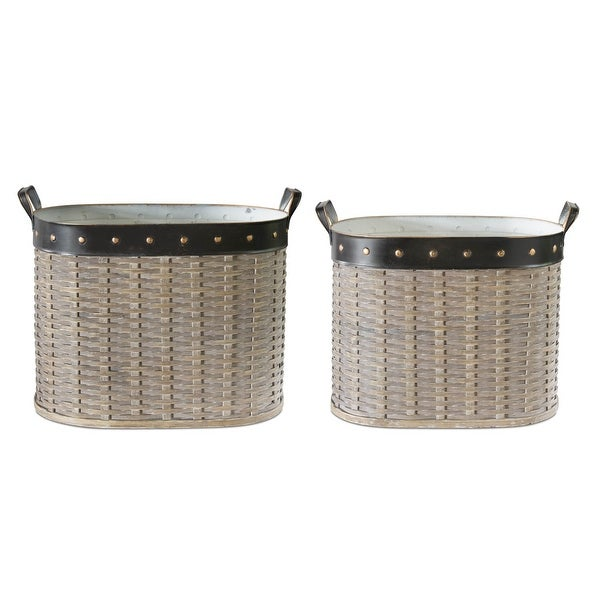 """16"""" Set Of 2 Oval Willow Baskets - N/A"""