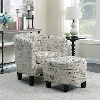 Belleze Accent Tub Chair Curved Back French Print Script Linen Fabric w/ Ottoman Modern Stylish Round Armrest