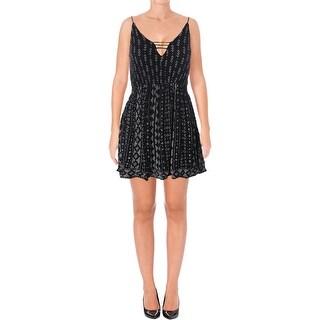 Aqua Womens Casual Dress Crinkled Printed