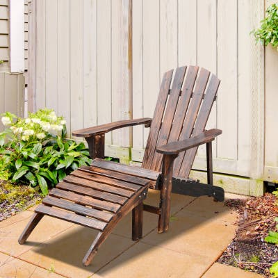 """Outsunny Wooden Adirondack Outdoor Patio Lounge Chair with Ottoman - Rustic Brown - 30"""" L x 56"""" W x 36"""" H"""