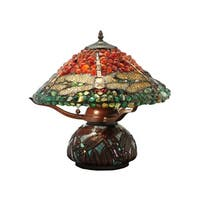 "Meyda Tiffany 138101 Dragonfly 2-Light 16.5"" Tall Hand-Crafted Table Lamp with Stained Glass - Mahogany Bronze"