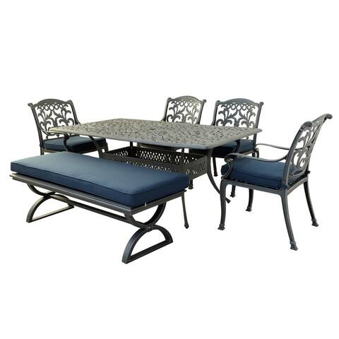 Marina Melbourne 6 Piece Outdoor Aluminum Dining Set with Cushions