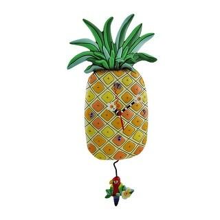 Allen Designs Pineapple Time Parrot Pendulum Wall Clock 17 in.