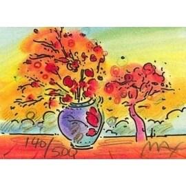 "Vase with Tree, Ltd Ed Lithograph (Mini 2"" x 2.75""), Peter Max"