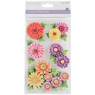 Multicraft Handmade Glitter 3D Stickers-Floral Medley