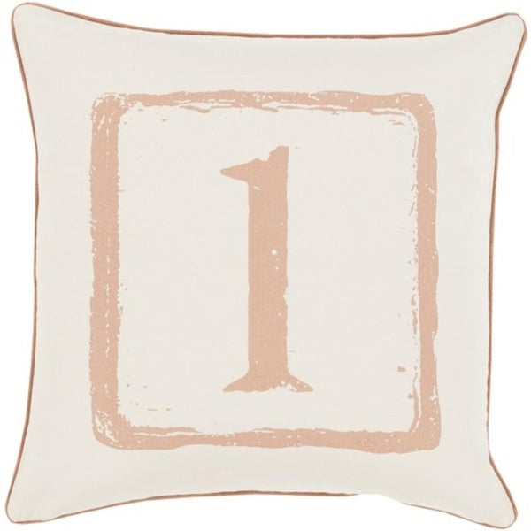 "20"" Mocha Brown and White ""1"" Big Kid Blocks Decorative Throw Pillow - Down Filler"