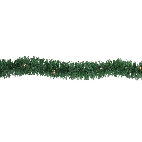 18' Pre-Lit B/O Green Pine Artificial Christmas Garland - Warm White LED Lights