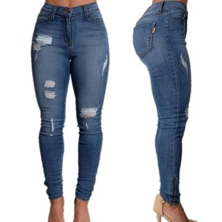 Women's Sexy High Waist Pencil Jeans Casual Blue Ripped Denim Trousers
