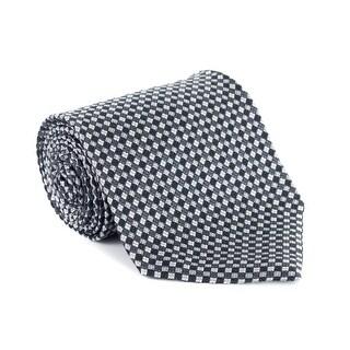 Tom Ford Black Grey Checkered Silk 4 Inch Wide Neck Ti
