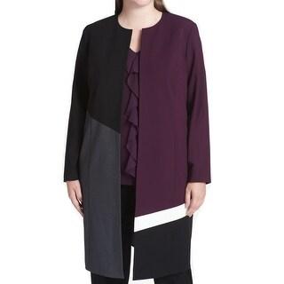 Calvin Klein Purple Womens Size 20W Plus Colorblock Topper Jacket