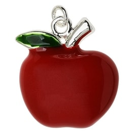 Silver Plated and Enameled Charm, Large Apple (Right) 20.3x19x4.8mm, 1 Piece, Red