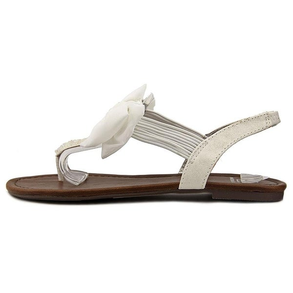 Material Girl Womens Swan1 Open Toe Special Occasion Flat Sandals