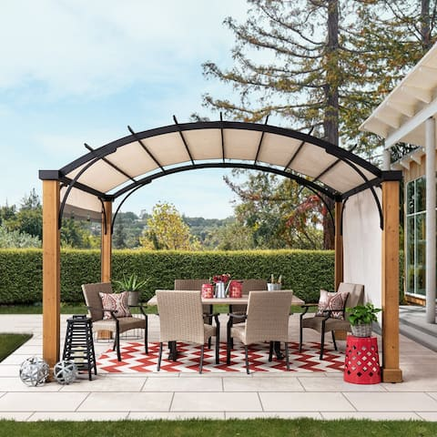 Sunjoy 10 ft. x 12 ft. Steel Arched Pergola with Wood Looking Finish